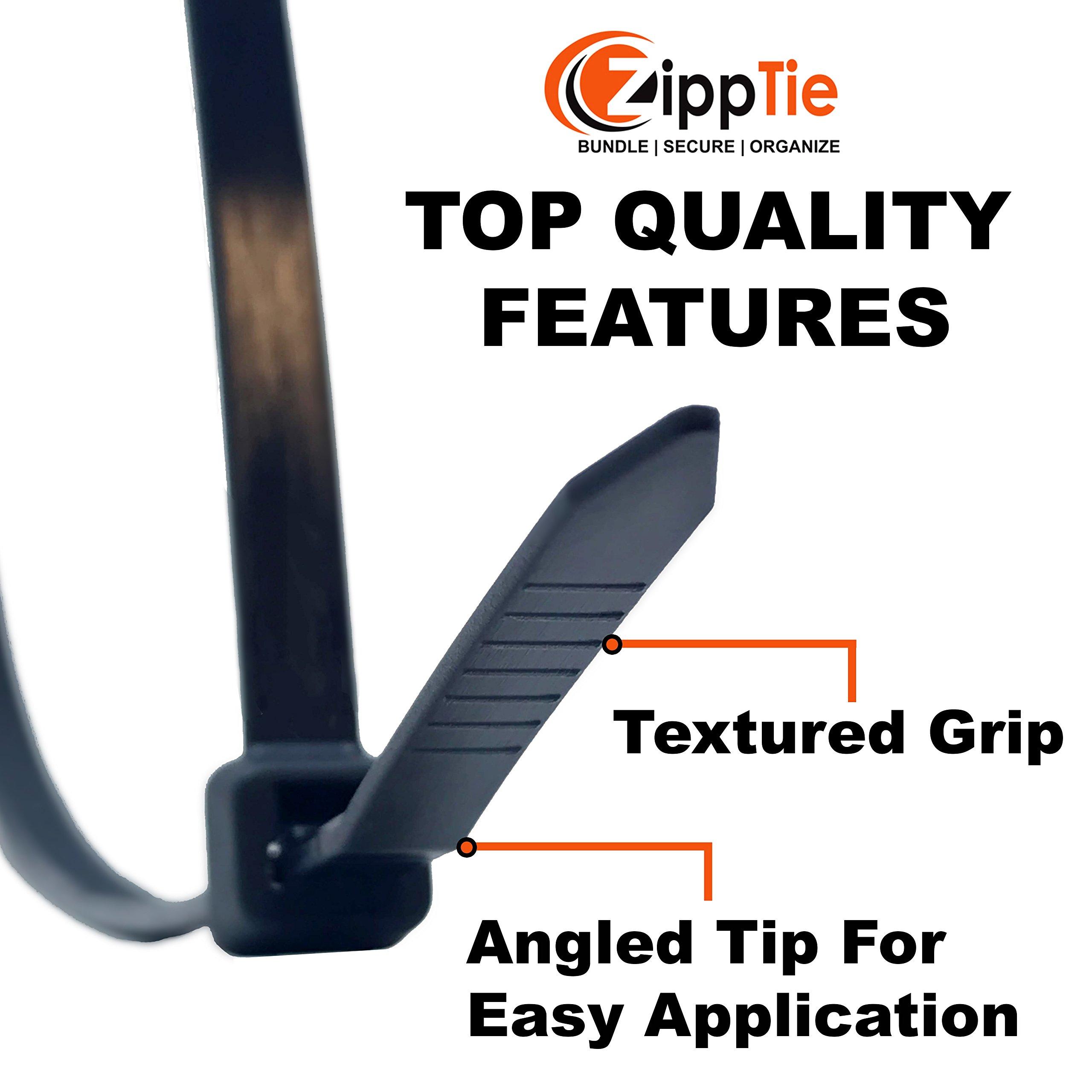 Cable Ties by ZippTie | 225pc Cable Management Kit 6'', 8'', 12'' White & UV Black Heavy Duty (Zip Ties) 50lb & 75lb | Includes 20 Adhesive Base Mounts and 5 Reusable ZippCro Wraps by ZippTie Bundle | Secure | Organize (Image #3)