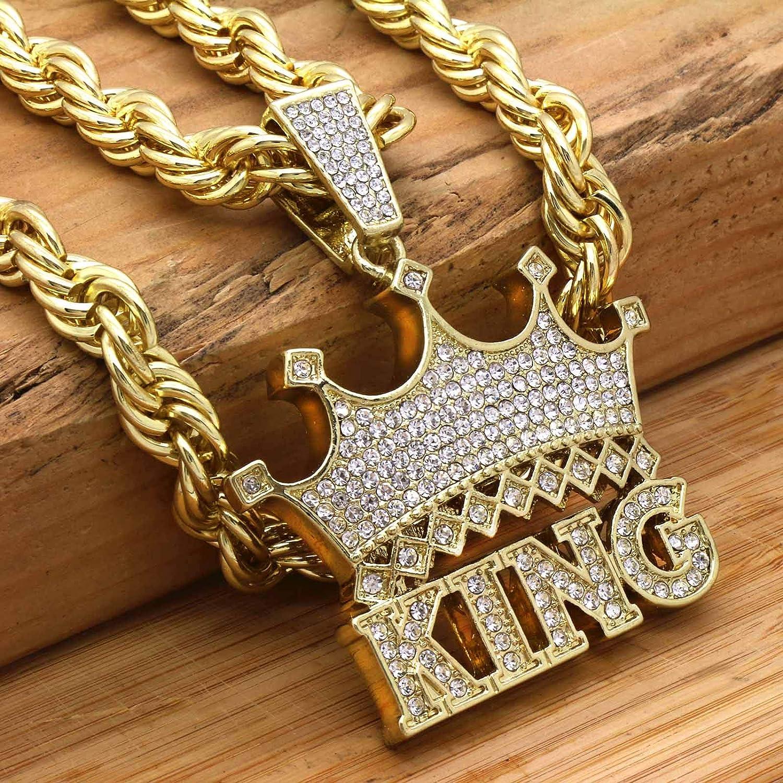 Mens 14k Gold Plated Hip Hop Large King Crown Pendants On 10 mm 20//24 Rope 3pcs Bundle Set