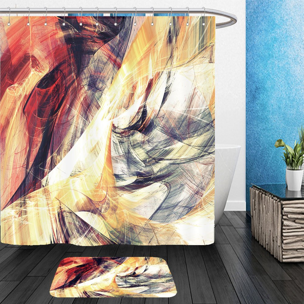 Vanfan Bathroom 2Suits 1 Shower Curtains & 1 Floor Mats solar energy abstract bright color painting texture artistic summer background with lighting 371907235 From Bath room