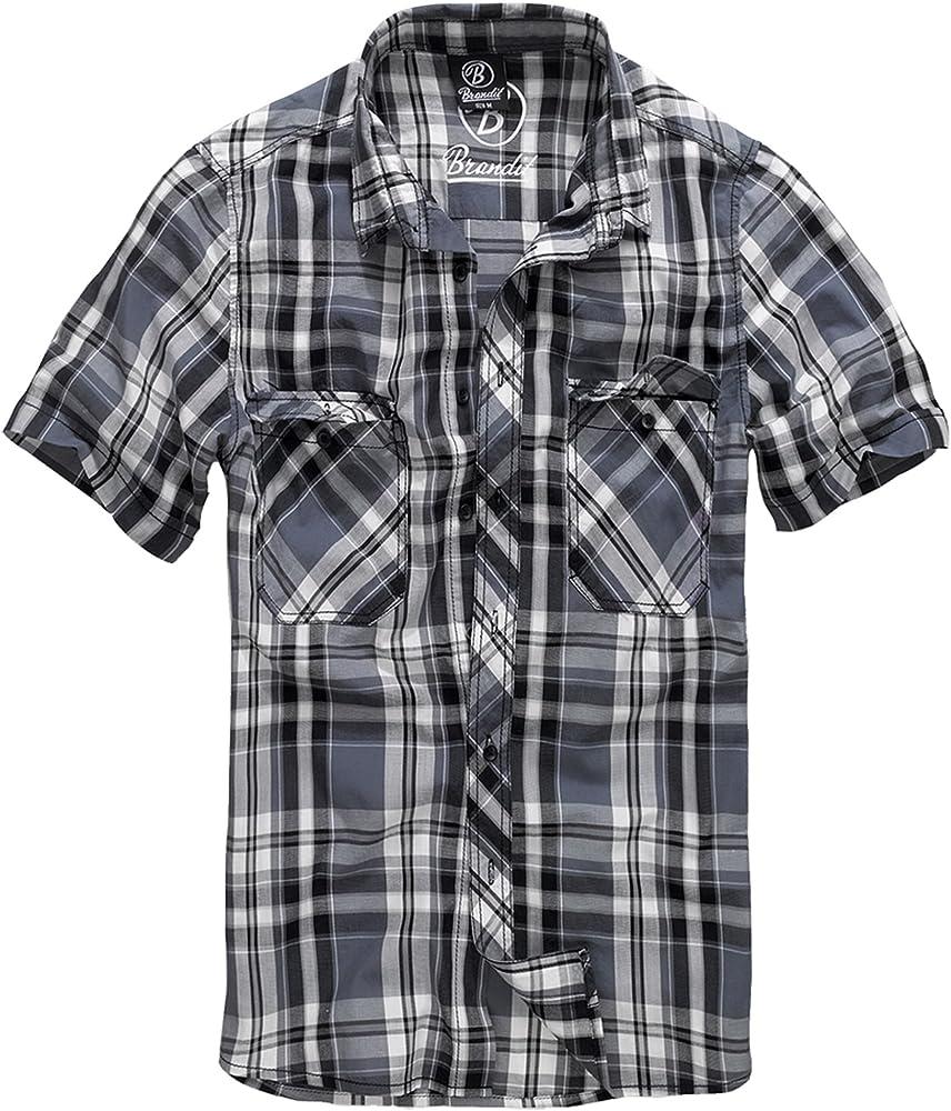 Brandit Roadstar - Camisa Casual - con Botones - Manga Corta - para Hombre - Negro, a Cuadros - 5XL: Amazon.es: Ropa y accesorios