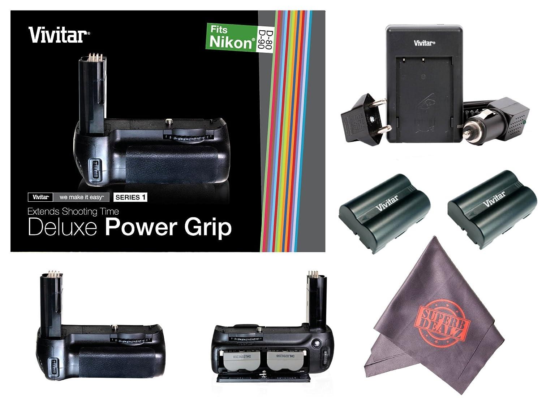 Vivitar Deluxe Power Grip para Nikon D80/D90 (viv-pg-d90) + ...