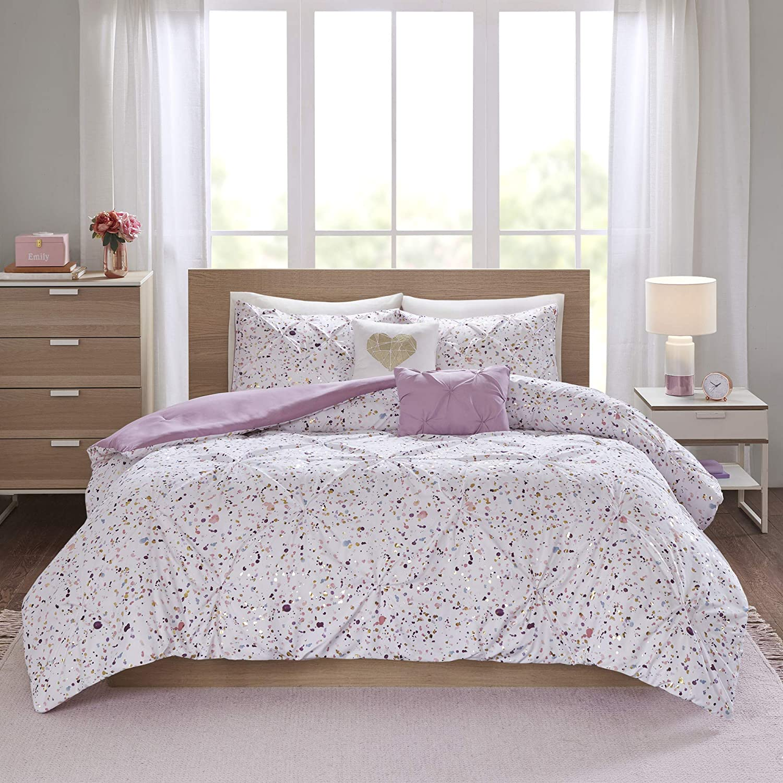 Intelligent Design Abby 5 Piece Comforter Microfiber Metallic Watercolor Print Pintucked Design Embroidered Toss Pillows Modern All Season Bedding Set with Matching Sham, Full/Queen, Plum