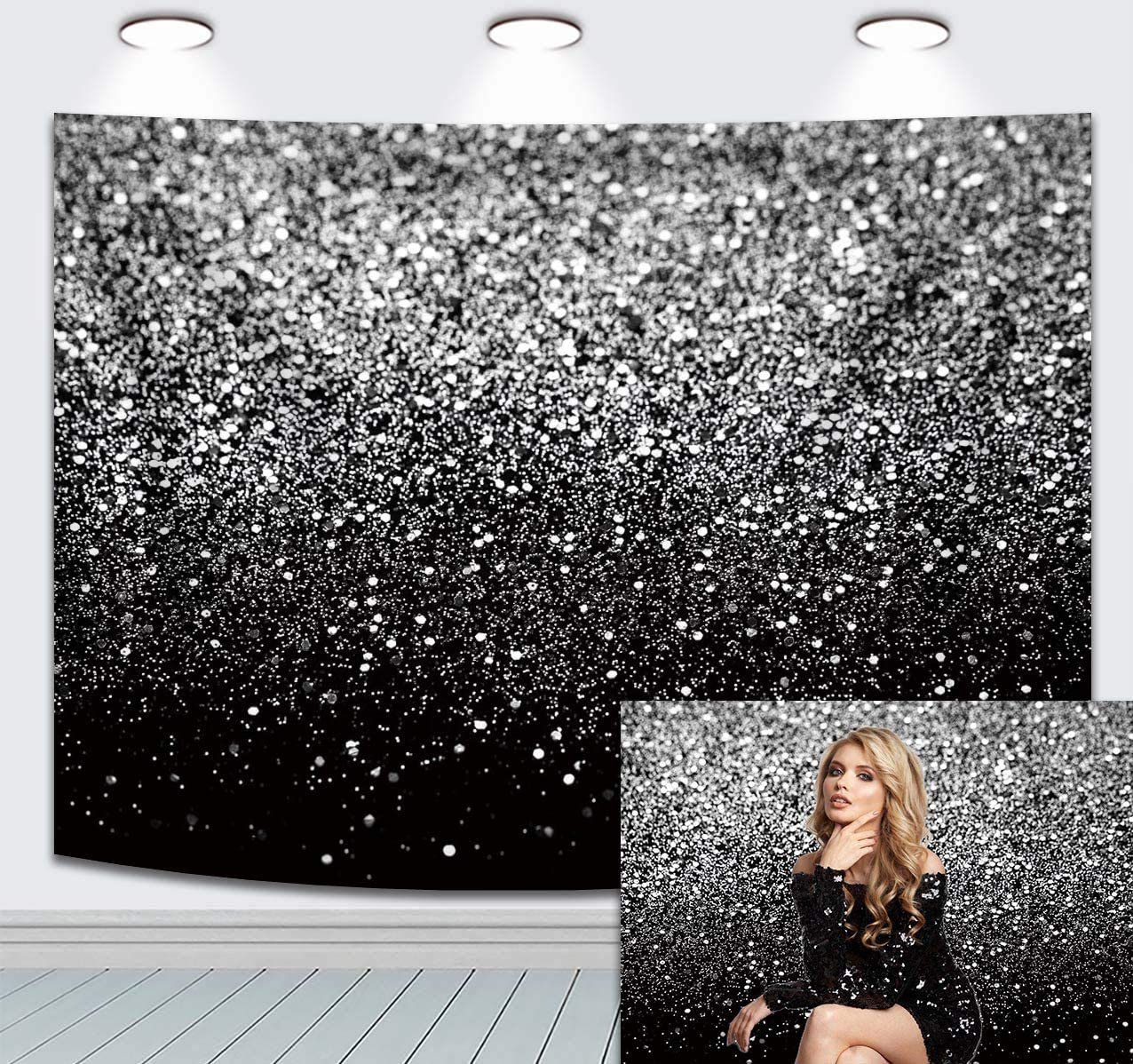 Durable Fabric Photography Backdrop Black Silver Selfie Birthday Party Theme Photo Background Prom Dance Decor Wedding Vintage Abstract Glitter Dots Studio Props