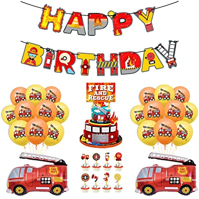 Buy Fire Truck Party Decorations Set Happy Birthday Banner Centerpiece Sticks Hanging Swirl Decorations For Fireman Firefighter Fire Engine Rescue Theme Birthday Party Supplies Set Of 52 Online In Turkey B08cmvpgfj