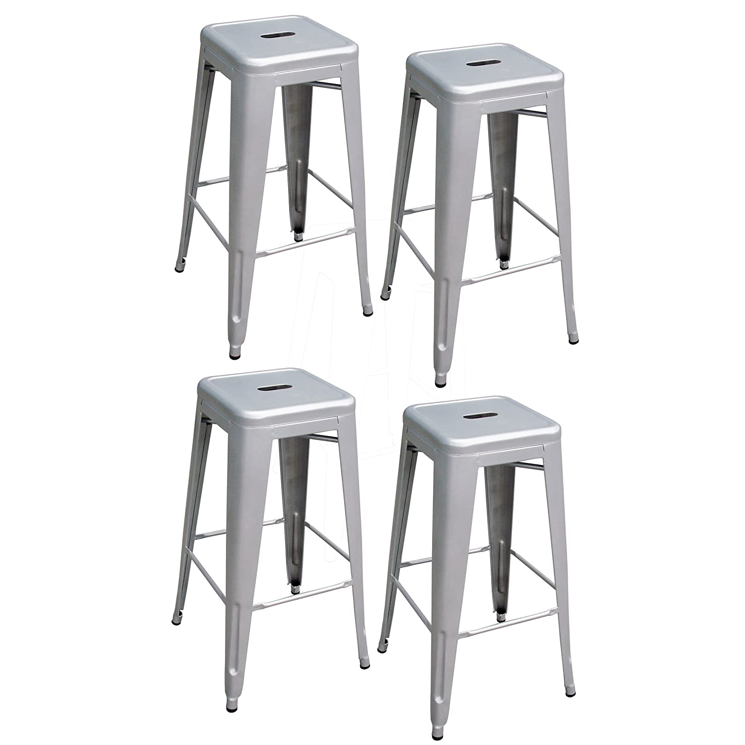 Amazon AmeriHome Metal Bar Stool Set 30 Inch Silver Set of