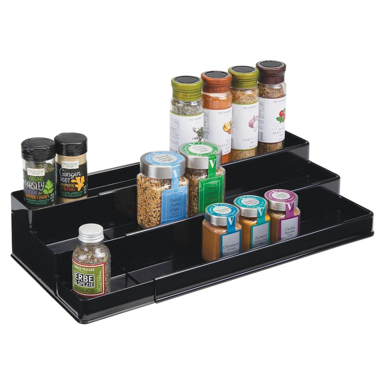 mDesign Ripiano per spezie espandibile – Organizer allungabile per barattoli e contenitori di sale, pepe e aromi – Porta spezie in plastica su 3 livelli – nero MetroDecor