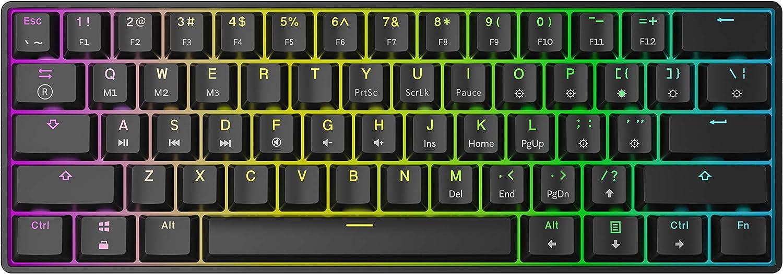 HK Gaming GK61 Teclado mecánico 61 Teclas RGB Iluminado, retroiluminación LED, para Juegos PC/Mac Gamer (Negro, Gateron Optical Blue)