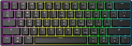 HK Gaming GK61 Teclado mecánico 61 teclas RGB iluminado, retroiluminación LED, para juegos PC/Mac Gamer (Negro , Gateron Optical Brown)