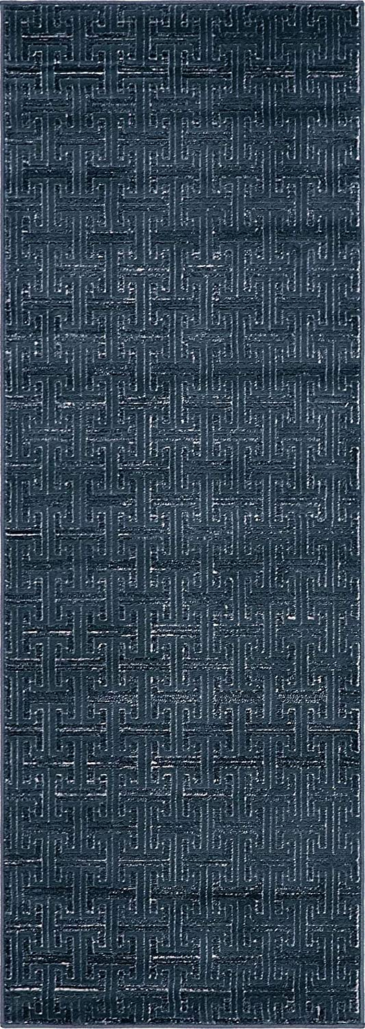 Unique Loom Uptown Collection by Jill Zarin Collection Textured Solid Geometric Modern Navy Blue Runner Rug (2' 2 x 6' 0)
