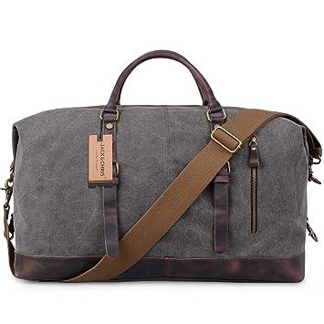 Jack Chris® Oversized Canvas Leather Trim Travel Tote Duffel shoulder  handbag Weekend Bag Extra Big Size 162e0967c1