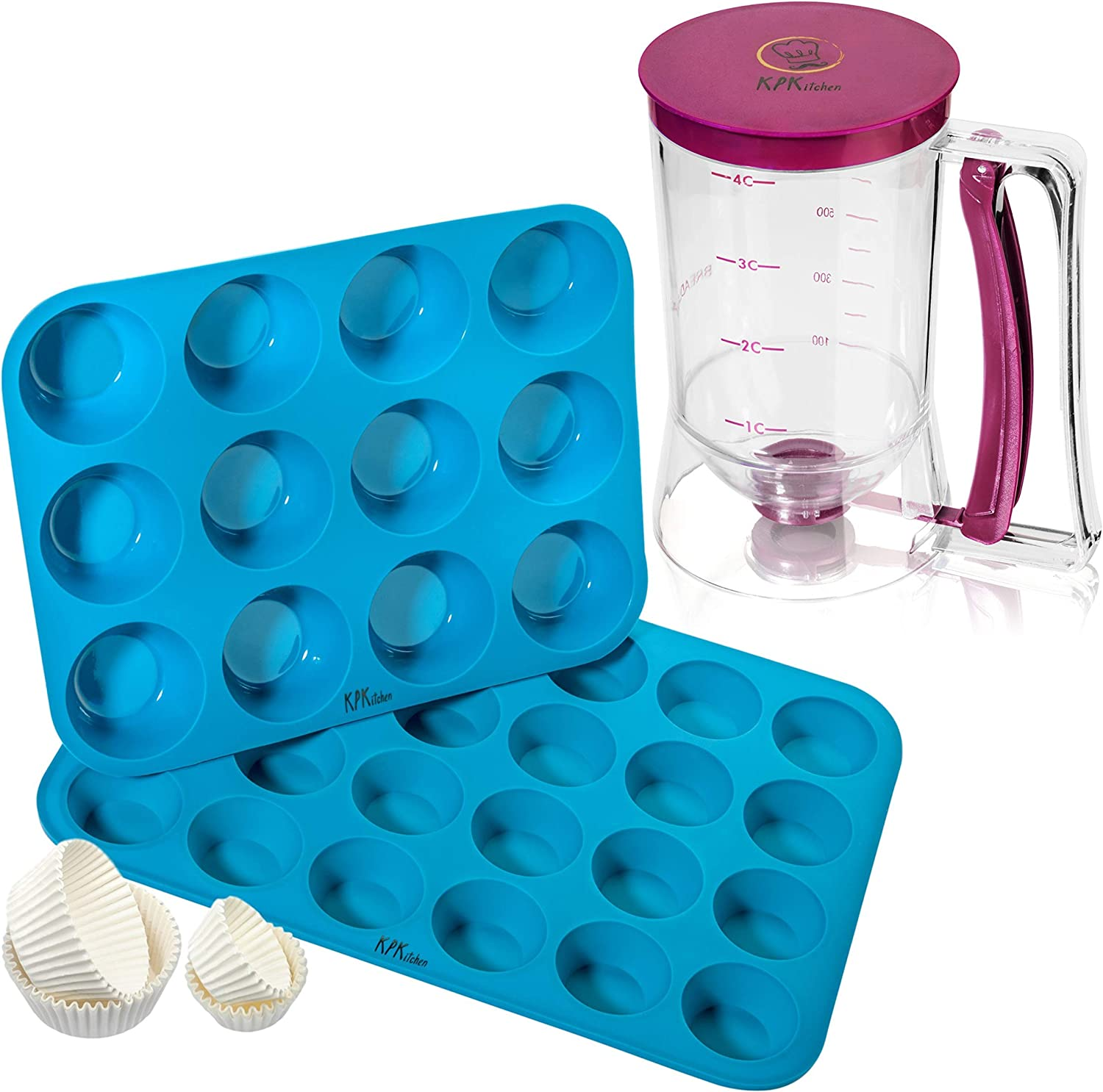 KPKitchen Pancake Batter Dispenser and Silicone Muffin Pans Set - Perfect Baking Tool for Cupcakes, Waffles, Crepes, Cake or Any Baked Goods - 12 & 24 Mini Pan Sizes - 100% Food Safe & BPA-free