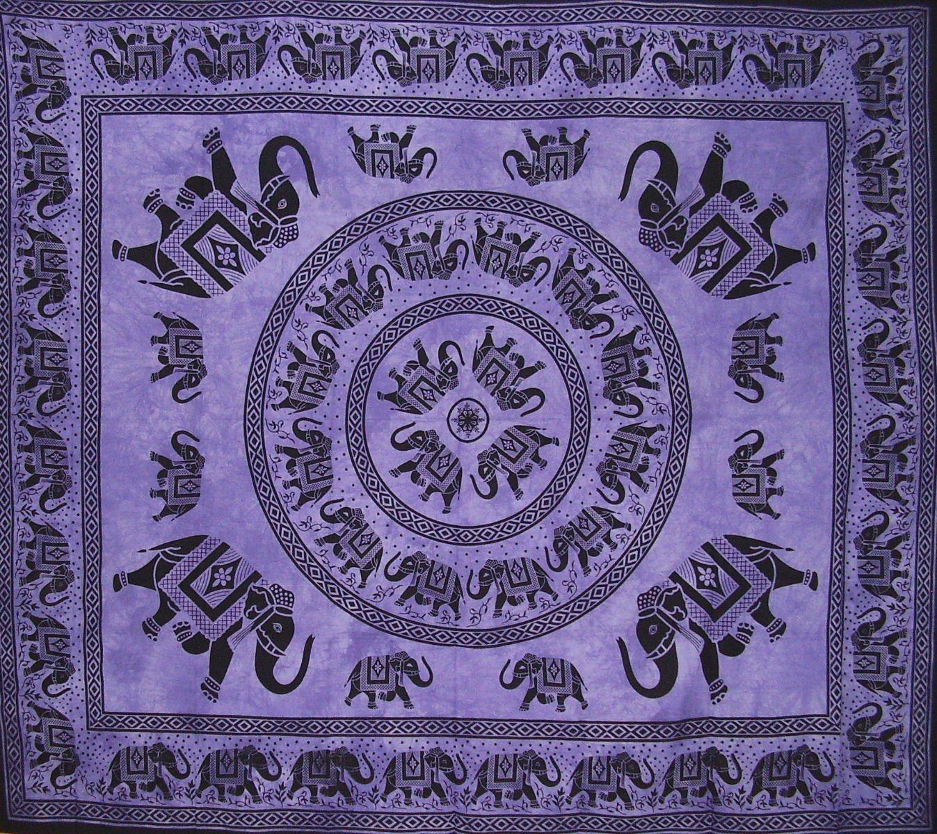 曼荼羅象タペストリーコットンベッドスプレッド98