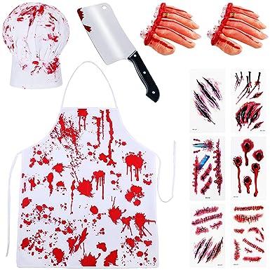 19 piezas de disfraz sangriento de Halloween, delantal de sangre ...