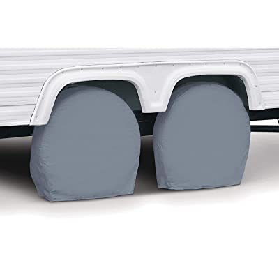 "Classic Accessories RV & Trailer Wheel Covers 18""-21"" Diameter, 6.75"" Wide, Grey, Set of Two: Automotive"