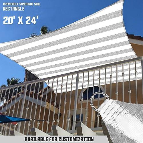 TANG Sunshades Depot 20' x 24' 180GSM Sun Shade Sail Rectangle Permeable Canopy Gray Grey Stripes/White Stripes Customize Size Patio Garden Preschool Kindergarten Playground Outdoor Activitie