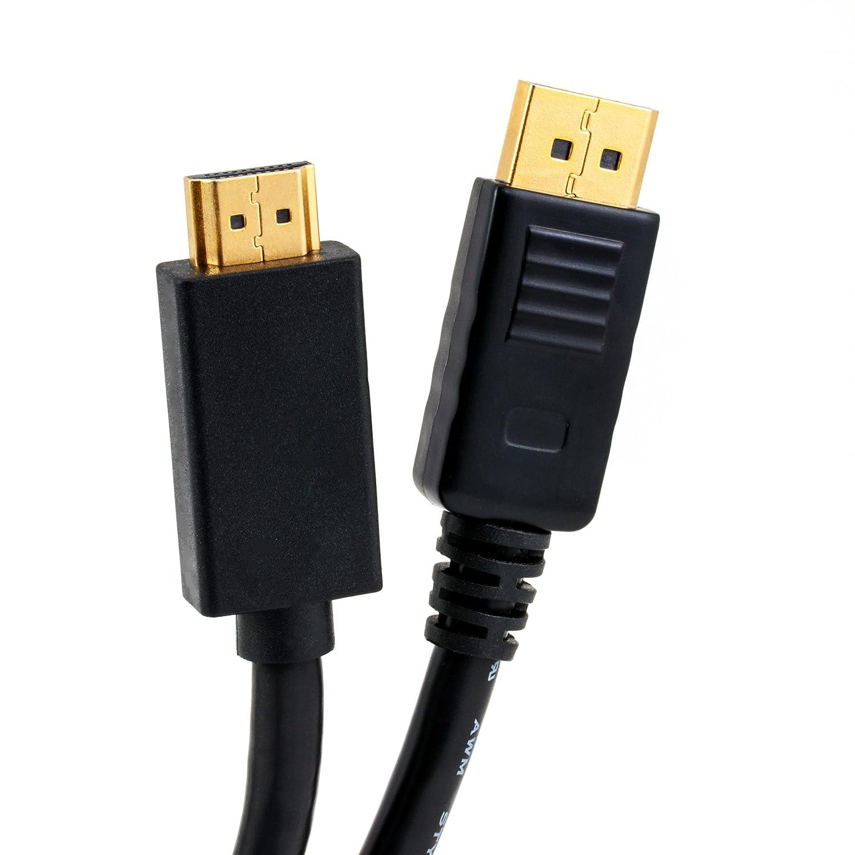 Full HD 1080p compresa trasmissione audio Adattatore Displayport HDMI da connettore DP a presa HDMI da DP a HDMI compatibile per prodotti Apple//schede grafiche PC CSL