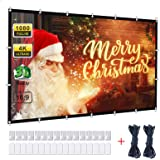Powerextra Projector Screen 120 Inch 16:9 HD 4K Portable Projection Screen for Home Theater Cinema Indoor Outdoor HD Movie Sc