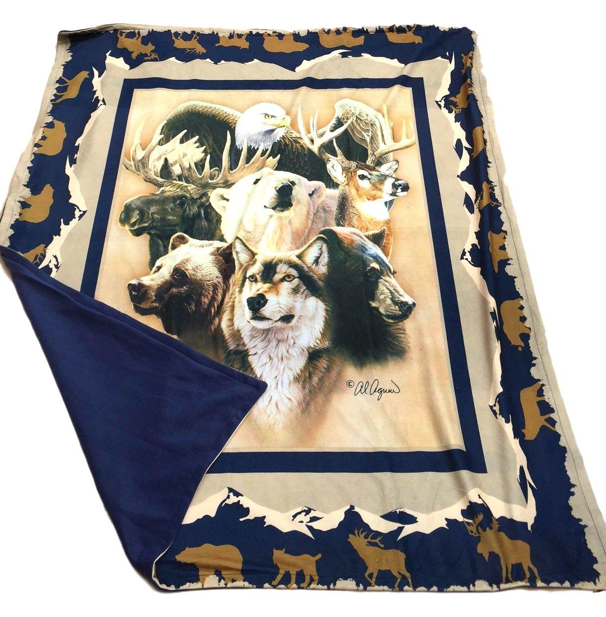 Animal Print Throw Blanket, Photoreal Printed Short Fur Throws with Fleece Reverse, Wildlife Theme, 50 x 60