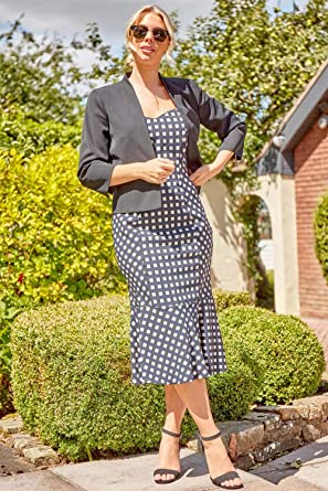 Roman Originals damska taliowana sukienka midi z karo i obszyciem w kształcie rybiego ogona – damska sukienka midi, wieczory, koktajle, wiosna, lato, Ascot, urlop, wesele, taliowana, ramiączka: Odzież