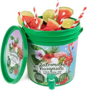 Thoughtfully Gifts, Watermelon Margarita Cocktail Bucket, Includes Margarita Cocktail Mixer and Cocktail Bucket with Front Spout, Just Add Water, Tequila and Freeze! 3 Liters (Contains NO Alcohol)