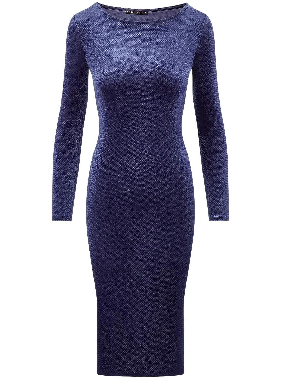 oodji Ultra Damen Tailliertes Kleid mit U-Boot-Ausschnitt