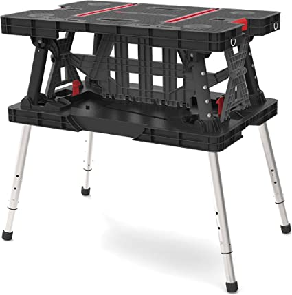 Keter Folding Adjustable Workbench Sawhorse with Clamps