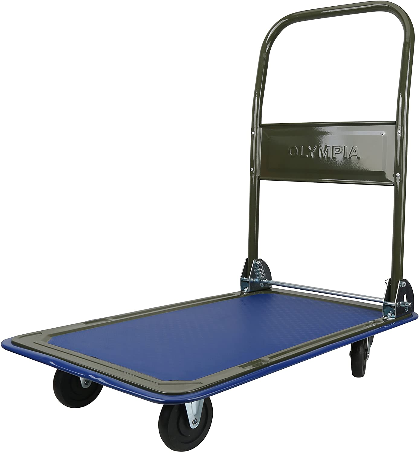 Amazon Com Olympia Tools 85 180 Folding Rolling Flatbed Cart For Loading Olive Green With Blue Bumper 300 Lb Load Capacity Home Improvement