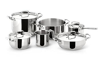 Lagostina Sfiziosa Batería de Cocina Extravagant, Acero Inoxidable, 10 Unidades
