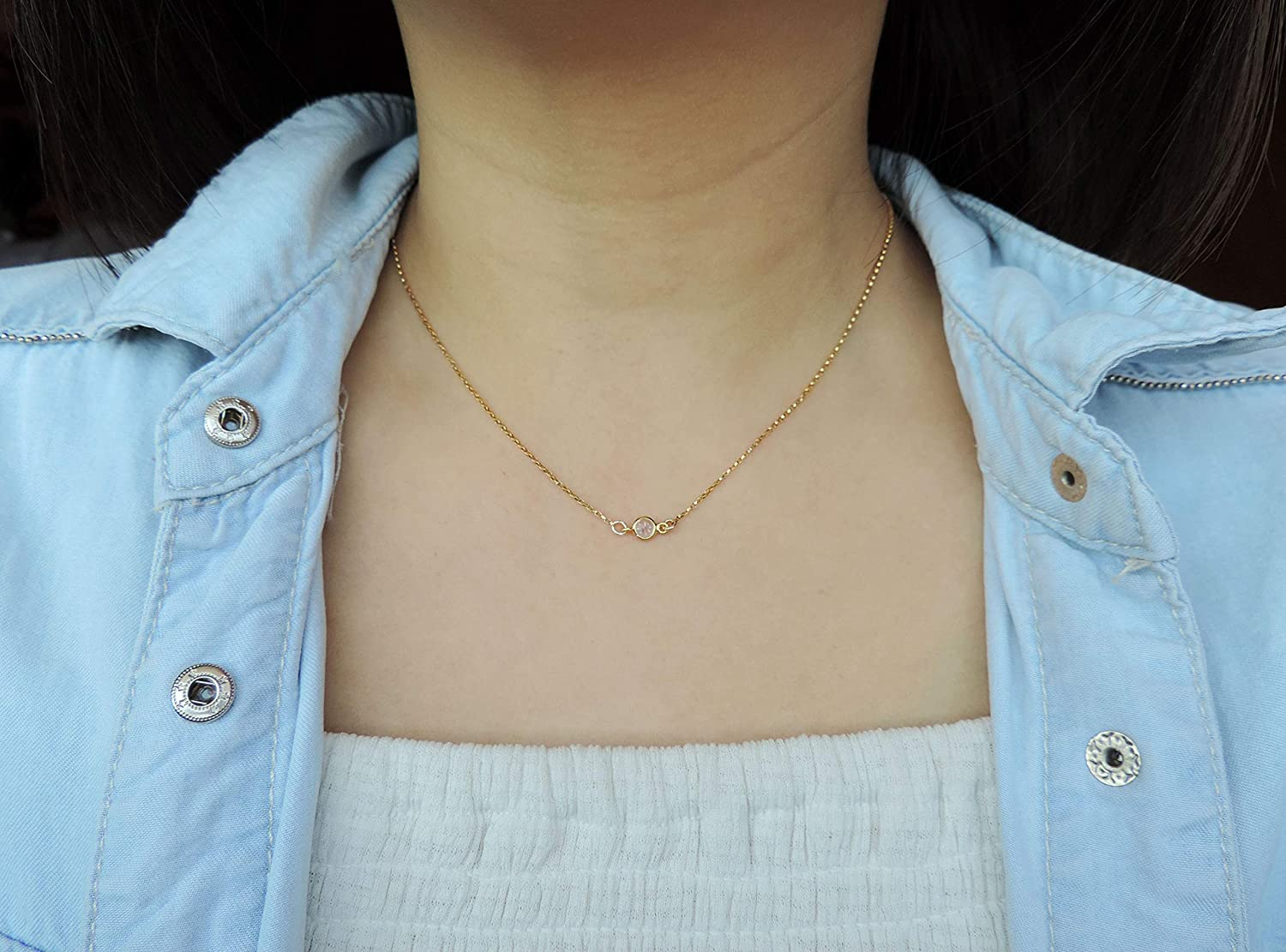 Tiny Diamond CZ Round Connector Necklace Minimalist Necklace Gift Small Dainty Diamond CZ Round Necklace,Sterling Silver//Gold//Rose Gold