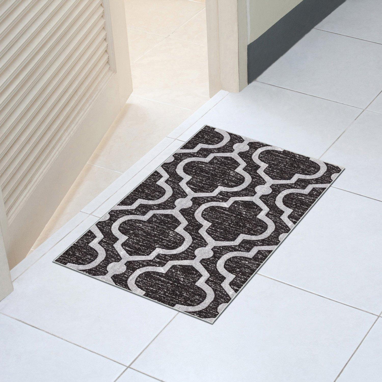 Kapaqua Rubber Backed 18-inch x 31-inch Doormat ANTHRACITE BLACK Moroccan Trellis Non-Slip Kitchen Bathroom Entryway Hallway Stair