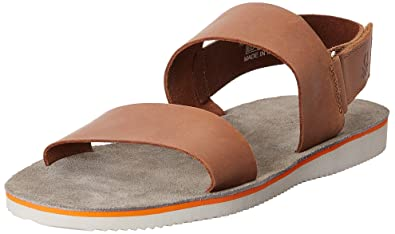 7a14b3d1697e United Colors of Benetton Men s Tan Leather Sandals and Floaters - 10.5  UK India (