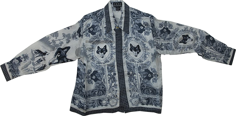 Kids Silk Shirt Wolf Design Long Sleeve Color Gray