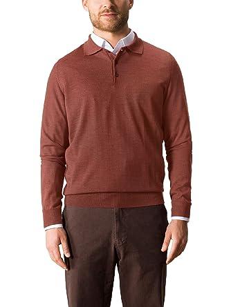Walbusch Herren Merino-Mix Polo-Pullover einfarbig Terracotta 54 ... b60c57894b