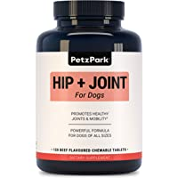 Glucosamine for Dogs Chondroitin MSM - Hip and Joint Support for Dogs of All Ages, Breeds and Sizes - Arthritis Treatment, Pain Relief, Hip Dysplasia Formula 800mg Glucosamine - Joint Supplement for Dog - Dog Treats - 120 Chewable Tablets - Petz Park