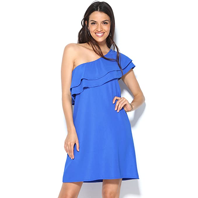 Vestido de Fiesta en Punto Elástico con Escote asimétrico Doble Volante by Vencastyle,Azul,