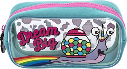 Estuche para lápices de FRINGOO, de PVC, infantil, transparente, grande, ideal para el colegio, para niños y niñas, color Dream Big Large: Amazon.es: Oficina y papelería
