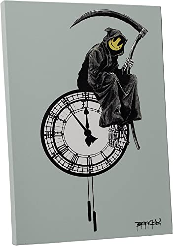 Banksy Grin Reaper Gallery Wrapped Canvas Wall Art. Bonus Wall Decal 30″ x 20″