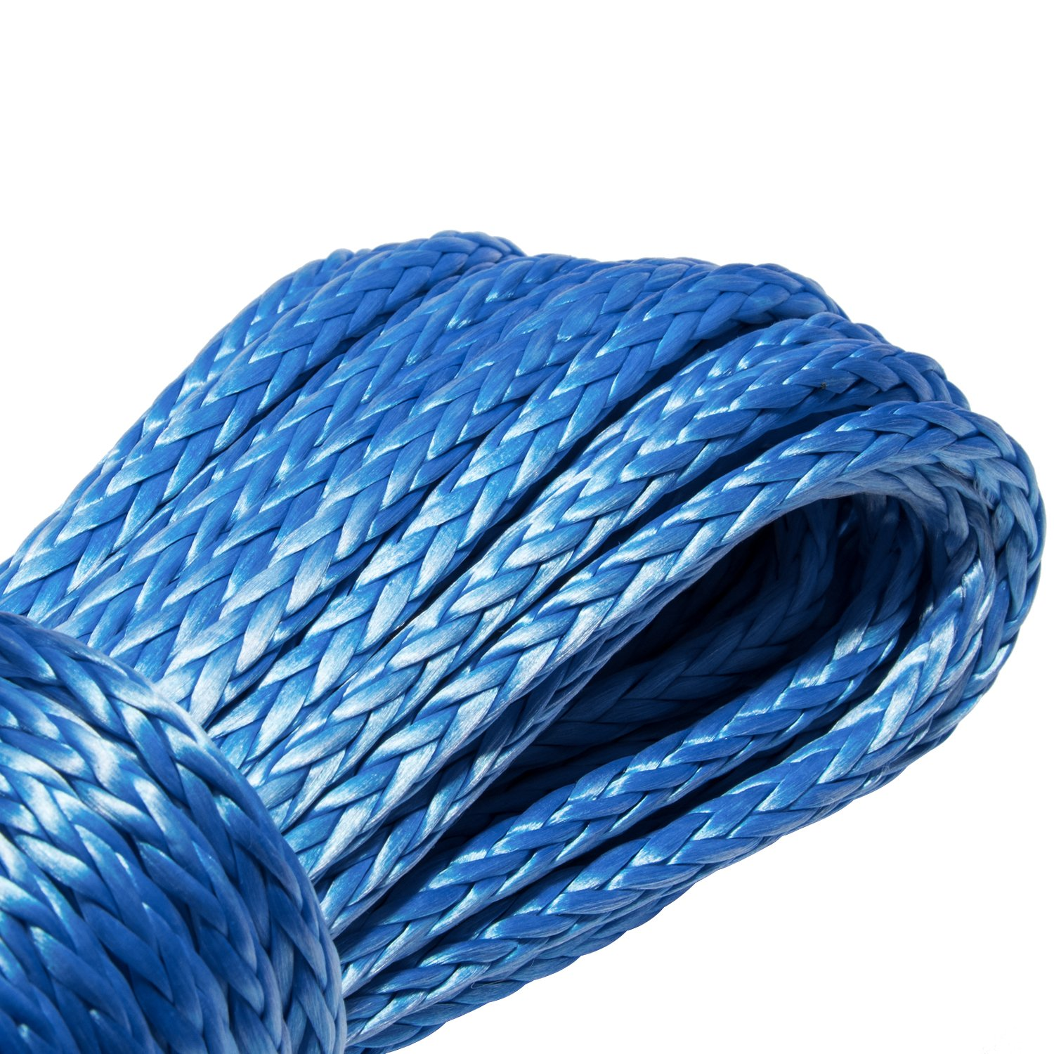 Synthetic Winch Rope 7500+LBs 50x1//4 Winch cable with Sheath for SUV ATV UTV Winches Truck Boat Ramsey Car Blue
