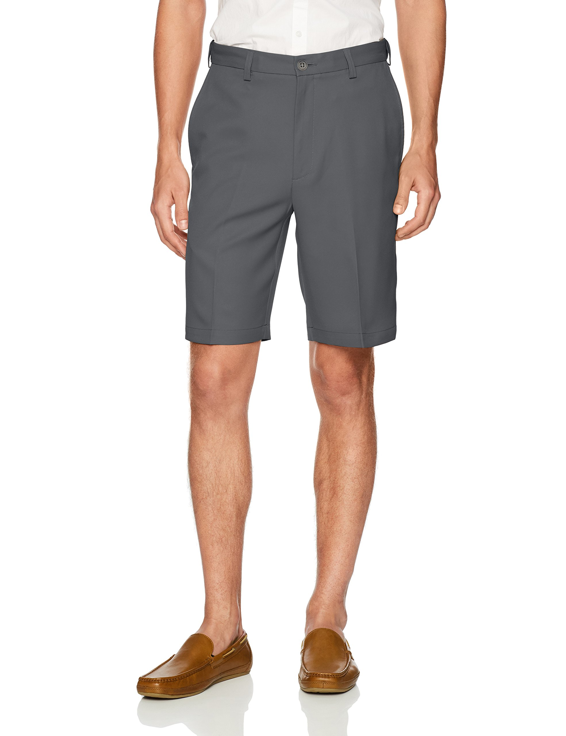 Haggar Men's Cool 18 Pro Straight Fit Stretch Solid Flat Front Short, Grey, 38 by Haggar