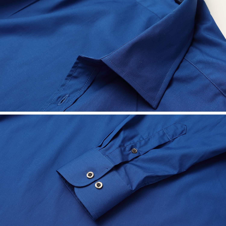 Camisa Slim Fit de Hombre Camisa Formal Estructura Easy Care de Hombres Cuello Solapa Manga Larga acabada en pu/ño con Botones