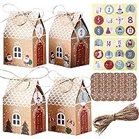 Herefun Cajas de Regalo Navidad, 24Pcs Calendario de Adviento Navidad, Bolsa para Calendario de Adviento, Bolsa de…