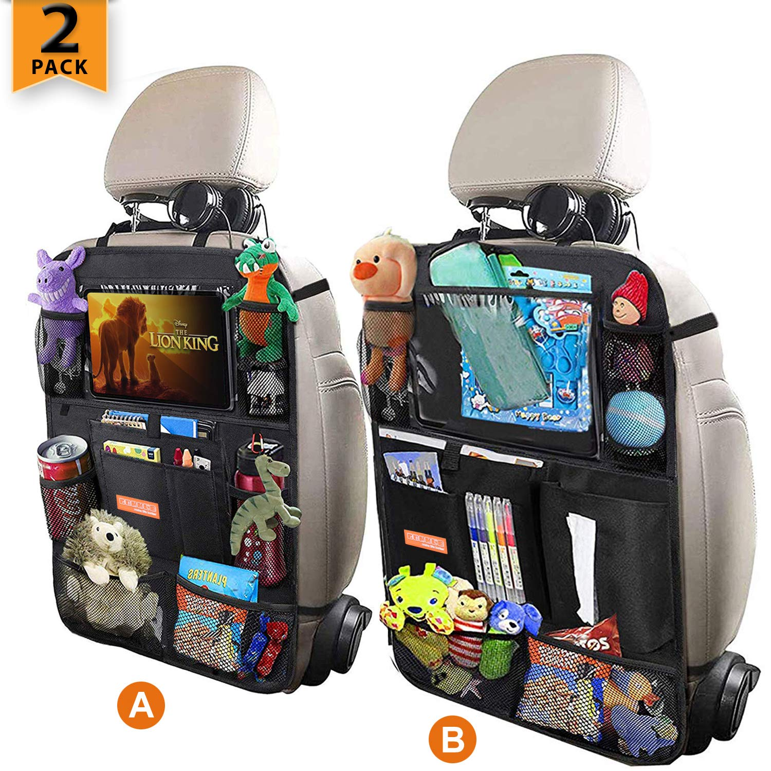 Car Backseat Organizer for Kick Mat, Upgraded Extended Size and Larger Pockets Car Back Seat Protector with 12'' Screen Tablet Holder + 19 Storage Pockets for Toy Bottle Tissue Box Travel Accessories by GOMMLE
