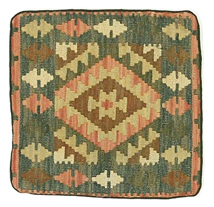Kilim Kissen 40x40 Tapis Oriental Carré Marron/Orange Noués ...