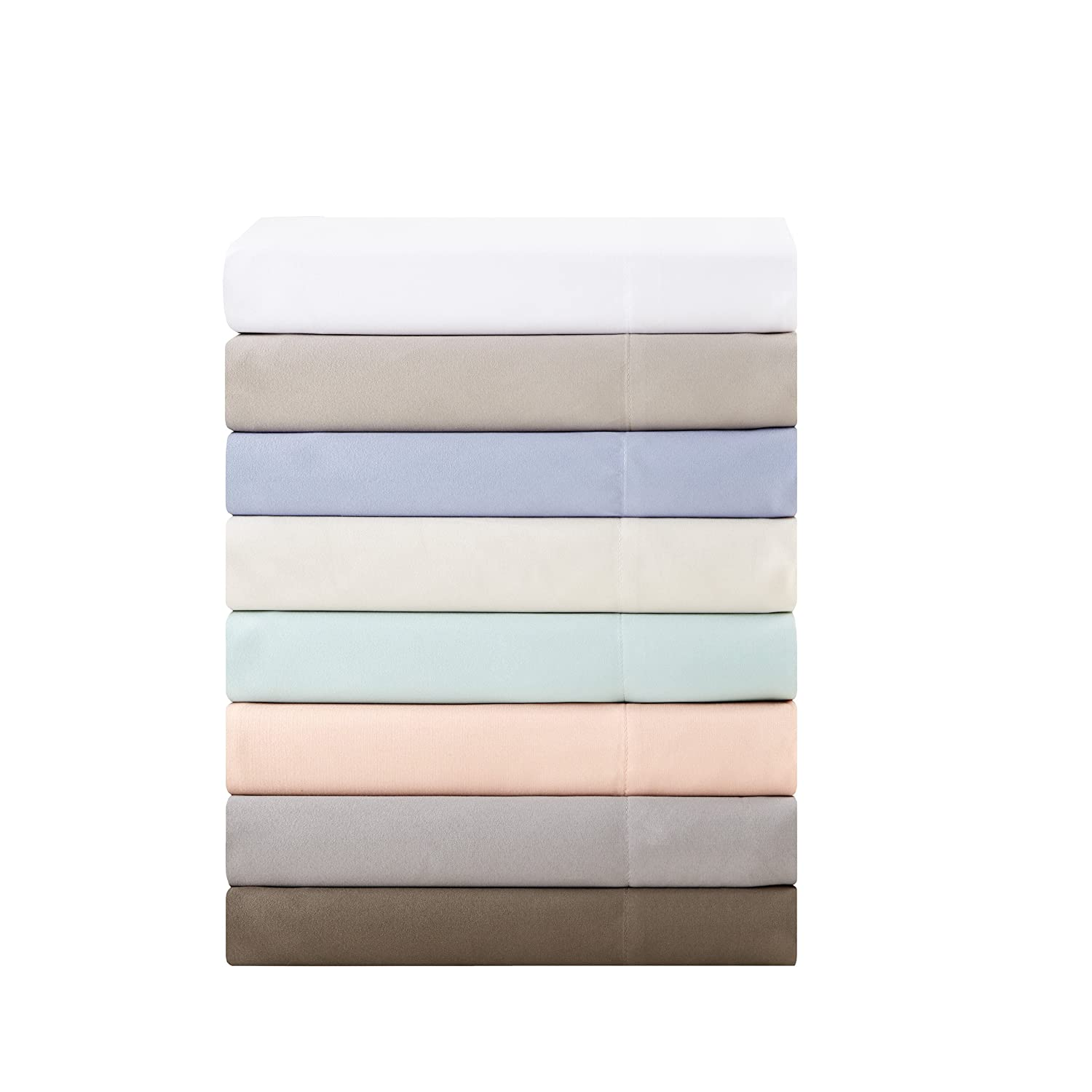 Madison Park 3M Microcell Twin Sheets Set, Casual Deep Pocket Bed Sheets, Ivory Microfiber Sheet Sets 3-Piece Include Flat Sheet, Fitted Sheet & 1 Pillowcase E&E Co. Ltd DBA JLA Home MP20-1180