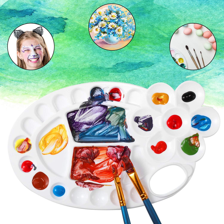 4 Pieces Paint Tray Palettes Art Paint Pallet Non-Stick Plastic Palette with 26 Wells for Watercolor Oil Painting Propylene Gouache