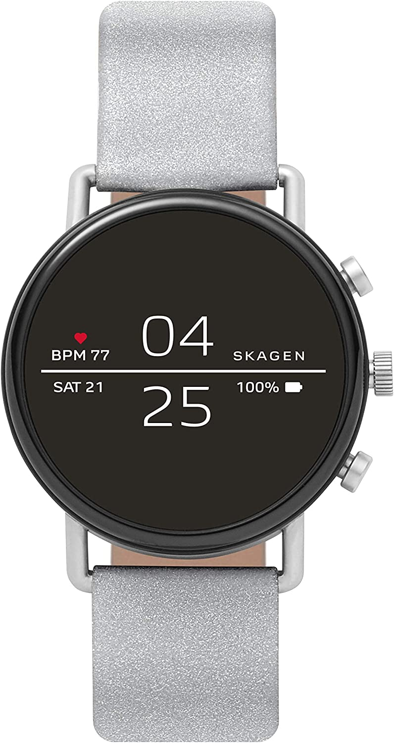 Skagen Connected Falster 2 Stainless Steel Touchscreen Smartwatch with Heart Rate, GPS, NFC, and Smartphone Notifications