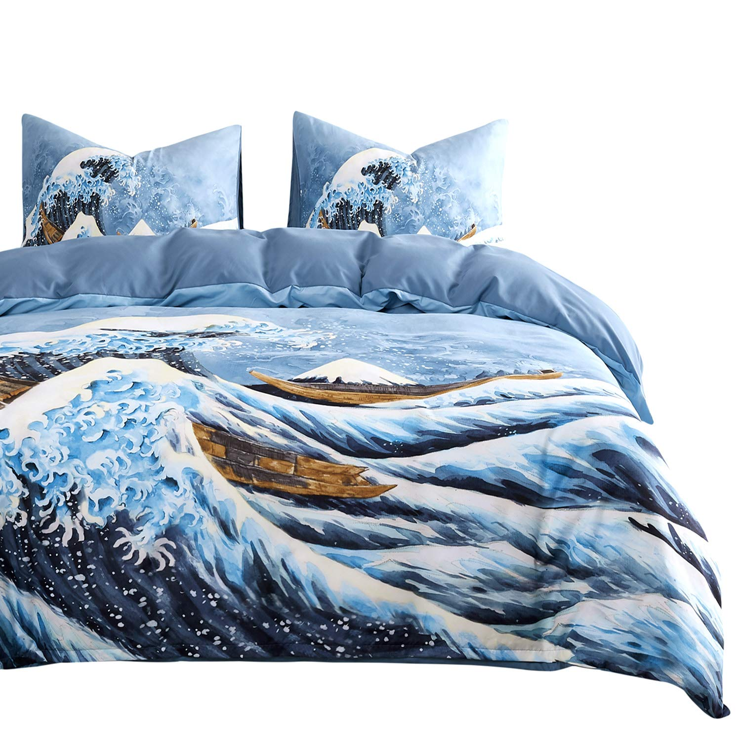 Wake In Cloud - Great Wave Comforter Set, Navy Blue Great Wave Off Kanagawa with Mount Fuji Pattern Printed, Soft Microfiber Bedding (3pcs, Queen Size)