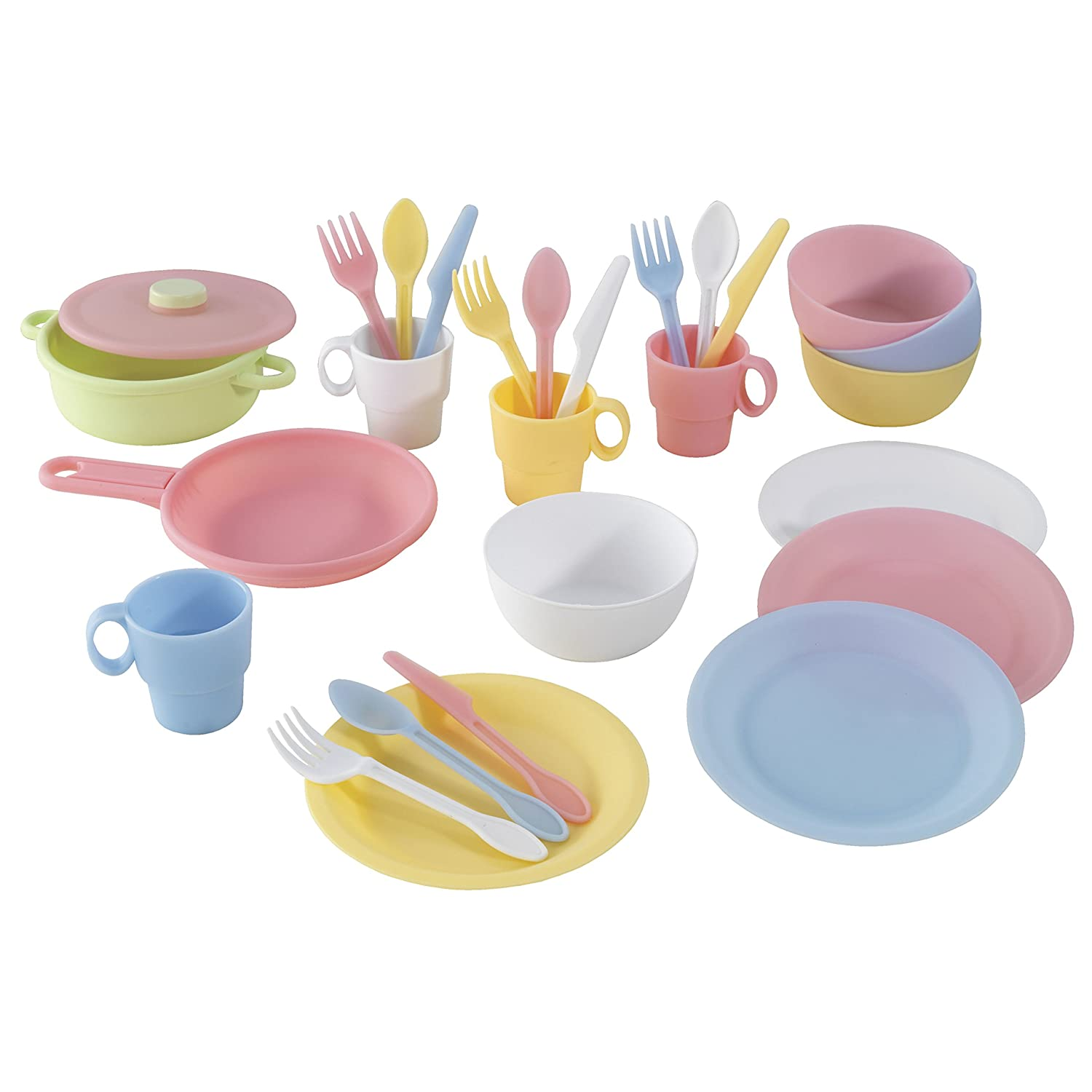 Kidkraft 63027 27 Piece Pastel Cookware Pretend Toy Food Playset Cooking Eating Utensils And Accessories Set For Kids Play Kitchen
