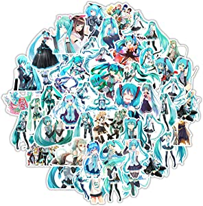 Hatsune Miku Sticker Pack of 50 Stickers - Waterproof Durable Stickers Classic Japanese Anime Stickers for Water Bottles Computers Laptops (Hatsune Miku)
