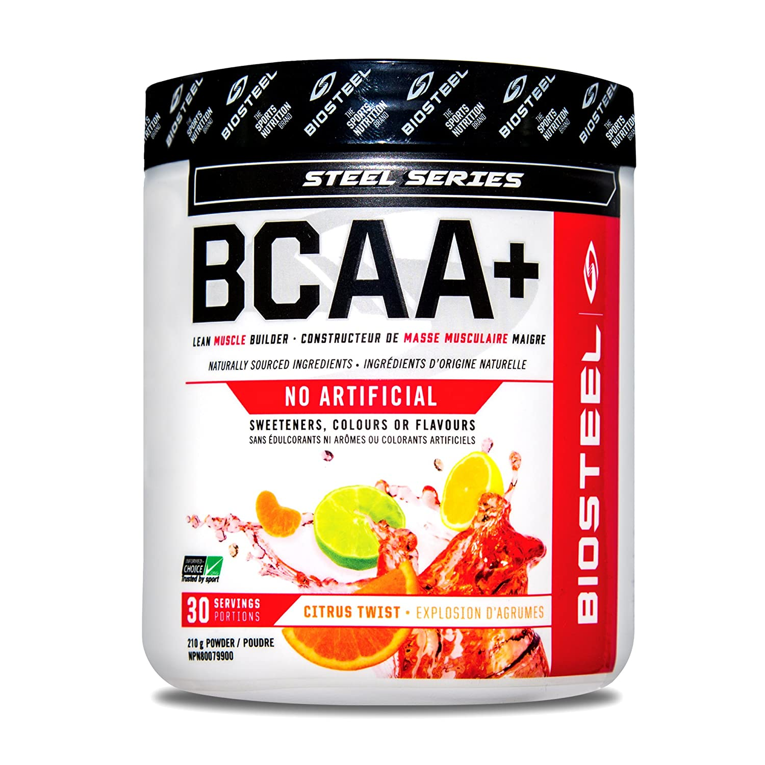 Biosteel BCAA Amino Acid Powder, Lean Muscle Support, Sugar Free, Naturally Sweetened with Stevia, Citrus Twist, 210 Gram